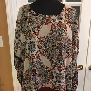 Awesome Earth Colors Poncho Blouse
